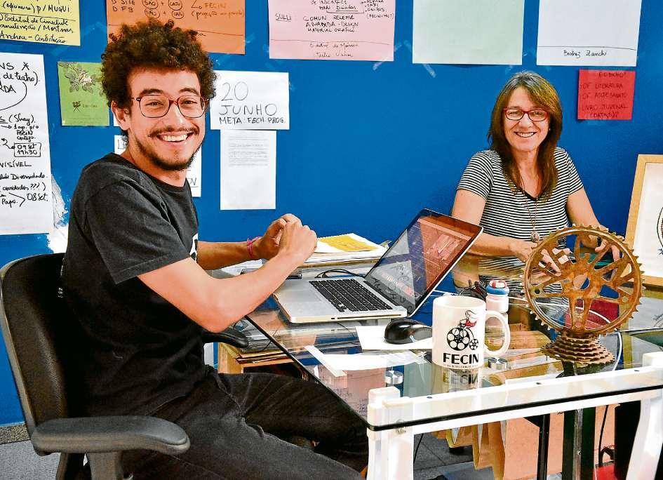 Leonardo Alves, diretor de cinema na Caju Produções, e Tânia Caju, administradora do Cine Ema